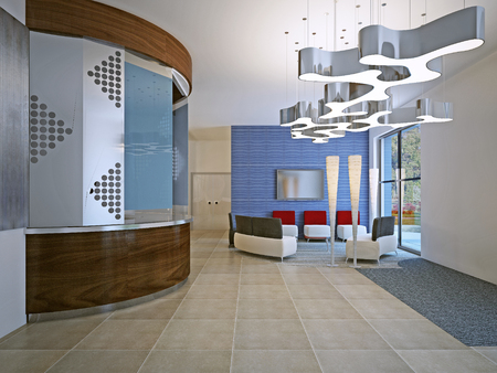 wall design: Contemporary hall of high school. Blob lamp on ceiling. 3D render