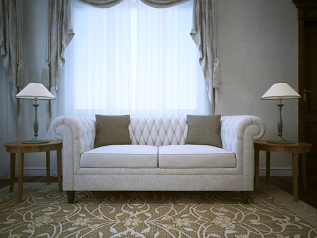caput: White linen cotton sofa with lamps on tables both sides . 3D render