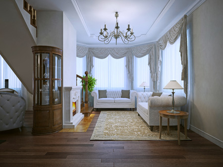 Bright interior of expensive living with fireplace. White upholstery sofas, beige pattrern carpet. 3D render Stock Photo