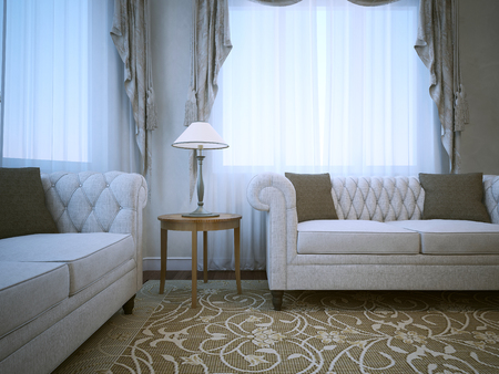 caput: Meeting place in classical apartments. Two white sofas with pillows on pattern carpet. 3D render Stock Photo