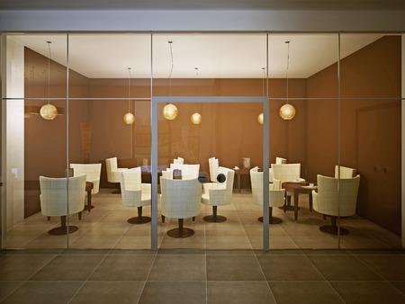 Café vacío en el diseño contemporáneo. crema brillante y marrón. Las mesas de madera con sillas de tela. 3D rinden