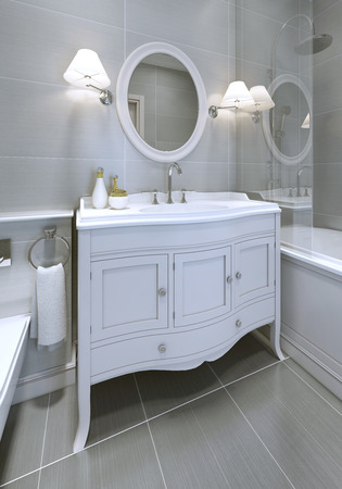 sconces: White art deco styled sink console in bathroom. Round mirror with sconces on both sides. 3D render
