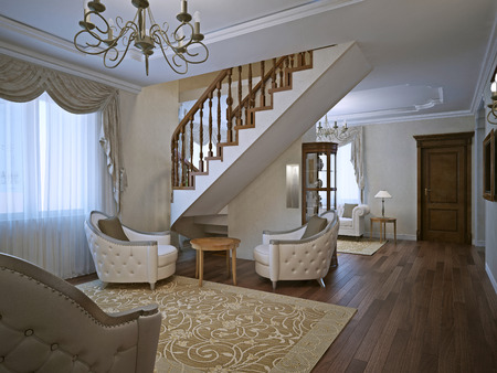 caput: Elegant living room in private house with stairs. White walls and dark brown parquet flooring. 3D render