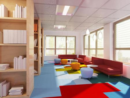 Empry library in modern school. 3D render Standard-Bild