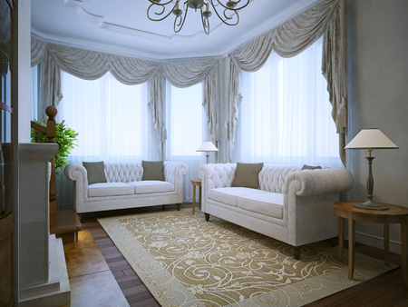 Modern lounge room with classic furniture in daylight. 3D render