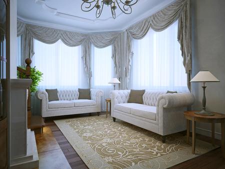 Moderne Wohnzimmer Mit Klassischen Möbeln Bei Tageslicht. 3D ...