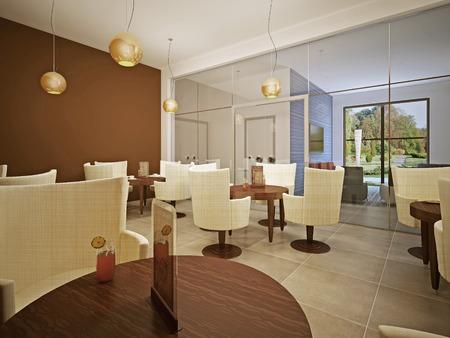 comedor escolar: Cafeter�a escolar. Cantina de la escuela secundaria. Sala de almuerzo en colores beige y marr�n. Blanco sillas de tela modernos. 3D render