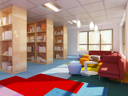 Colorful library in kitch styled school. Red sofas, multicolored carpet. 3D render