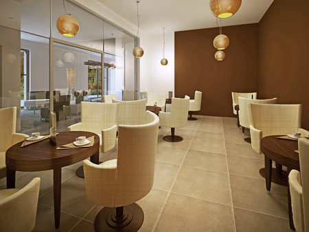 tile flooring: Beautiful brand new european restaurant in brown and cream. Marble tile flooring, brown colored walls. 3D render