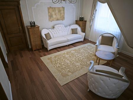 classic interior: Luxury living room in classic interior. 3D render Stock Photo