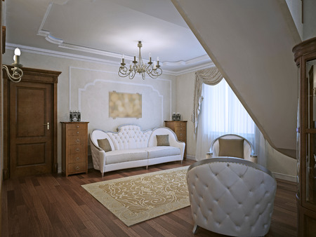 caput: Elegant sofa in living with molding walls. Classical furniture, wooden dressed on both sides of sofa. 3D render