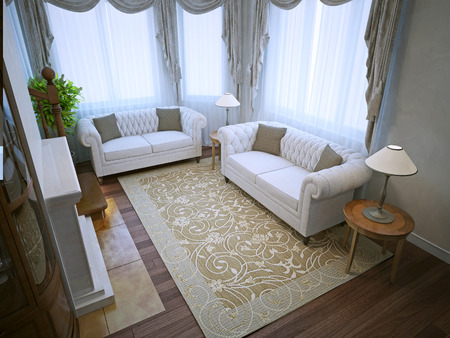 Living room with quality lighting. Panoramic windows. 3D render Stock Photo