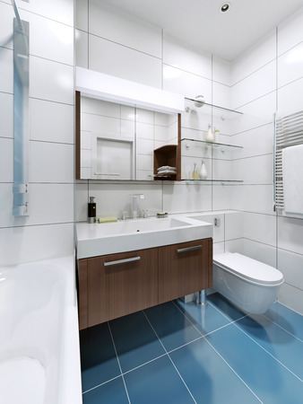 tile flooring: White modern bathroom with blue tile flooring. Glossy tile. 3D render Stock Photo