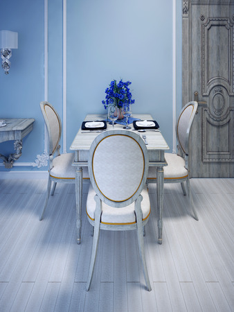 wood molding: Empty served table forthree person. Gray Washed Wood Furniture. Blue molding walls. 3D render Stock Photo