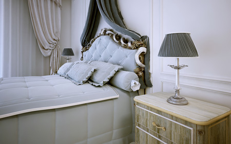 neoclassic: Idea of bright bedroom in neoclassic style. 3D render Stock Photo