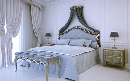 neoclassic: White luxury bedroom in neoclassic style. 3D render Stock Photo