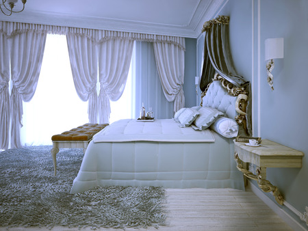 avant garde: Avant garde design of bedroom in daylight. Large tick pile grey carper, pale wood wall mounter bedside table. 3D render Stock Photo
