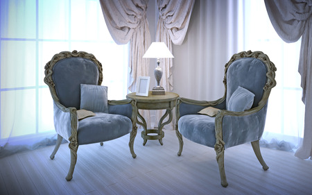 blue wall: Elegant chairs in antique style. Room with large windows, cotton cream curtains and white laminate flooring. 3D render