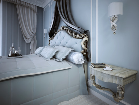 wood molding: Cozy blue bedroom in classic style. 3D render