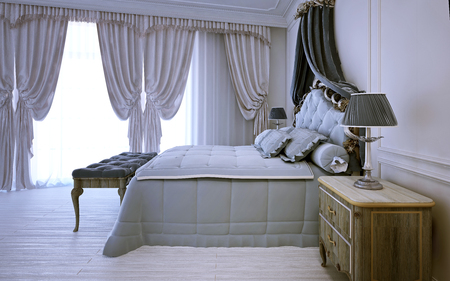 Empty royal bedroom in neoclassic design. 3D render Stock Photo