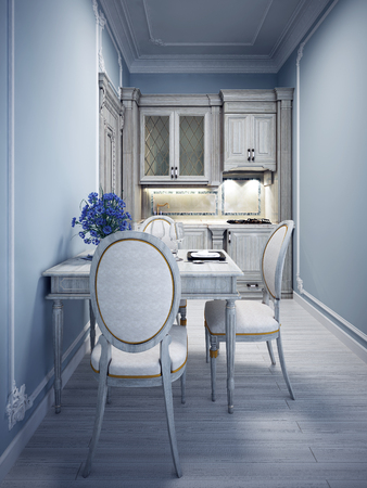 linoleum: Blue tiny kitchen with classic white furniture. 3D render