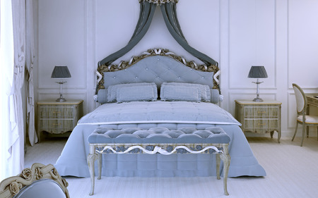 avant: Front view on luxury double bed in avant garde style. 3D render Stock Photo