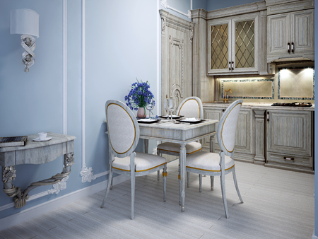 avant: Avant garde kitchen interior in private house with blue molding walls. 3D render