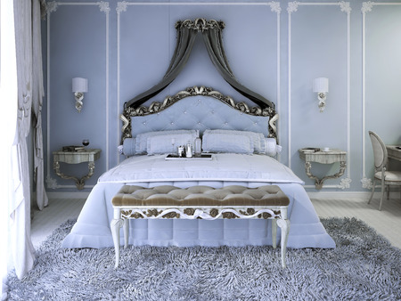 wood tick: Double bed with curtain in luxury royal view bedroom with pale blue walls. Tick pile grey carpet and upholstery bench with white wood carcas. 3D render Stock Photo