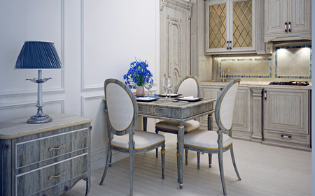Art deco kitchen with dining. Pale wooden furniture. Bright blue color in interior. 3D render