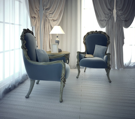 neoclassic: Sitting place for negotiation in private house. Neoclassic style. 3D render