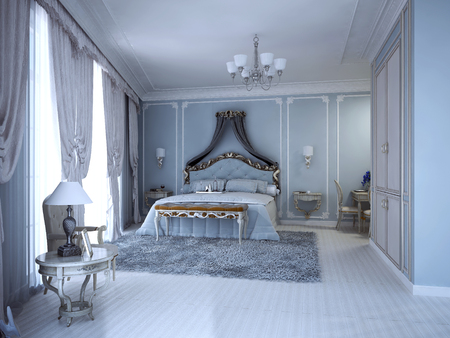 wood tick: Luxury bedrom in private house. Blue molded walls, lether bench. 3D render