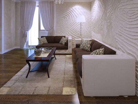 avant: Living room in avant garde trend. Wavy plaster walls, two sofas in brown color. 3D render Stock Photo