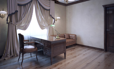english house: Meeting room in english house. Ecru plaster walls, dark brown furniture. Bright contrast. Massive curtains in modern interior. 3D render Stock Photo