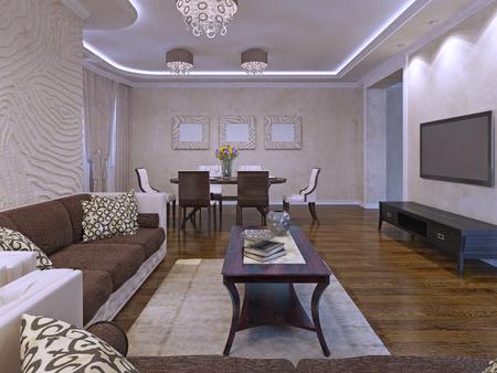 darkwood: Elegant lounge room design in cream and brown colors. Darkwood furniture, cloth sofas in brown color. 3D render Stock Photo