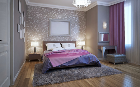 pink wallpaper: 3d rendering bedroom in gray and white tones with purple accents Stock Photo