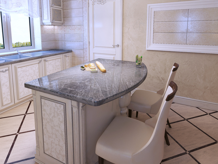 cabinets: Kitchen for elegant people in art deco style. Molded pattern cabinets, White leather chair. 3D render