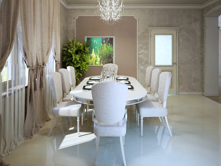 interior walls: Expensive apartments in avantgarde style. Dining with white furniture. 3D render