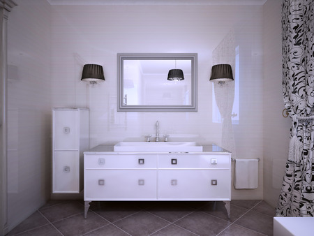 sconces: Glossy white furniture in bathroom modern style. Shiny walls, large mirror with sconces both side. 3D render