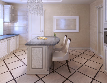 kitchen island: Kitchen with island bar in avantgarde style. White and creame colors in interior. 3D render