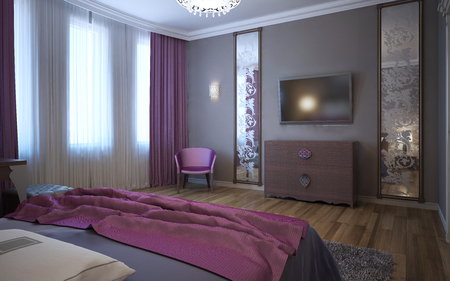 Contrast of dark pink and grey in interior of fusion bedroom. 3D render
