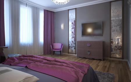 유행: Contrast of dark pink and grey in interior of fusion bedroom. 3D render