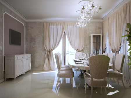 Luxury dining room in art deco style. Concrete flooring in home interior. Inspiration for designed dining room. 3D render