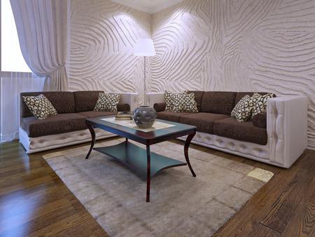 #50514934   Elegantes Wohnzimmer Möbel Set. Zwei Braune Sofas Mit  Lederteilen. Mahagoni Holztisch. 3d Render