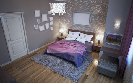 avantgarde: Avantgarde bedroom in grey color trend. Paged milano bed, tick pile wool carpet. 3D render