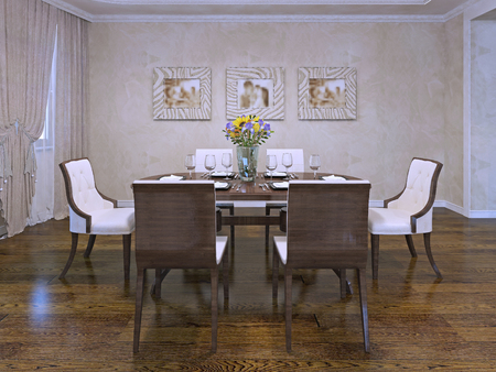 table and chairs: Design of dining room in private house. Beautiful white chairs with wooden carcas. Served wooden table in room with cream colored plaster walls. 3D render