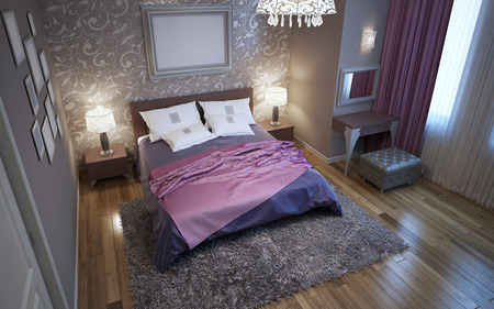 wood molding: Master bedroom in fusion style. Using of patterned decorations in interior. Parquet flooring. 3D render