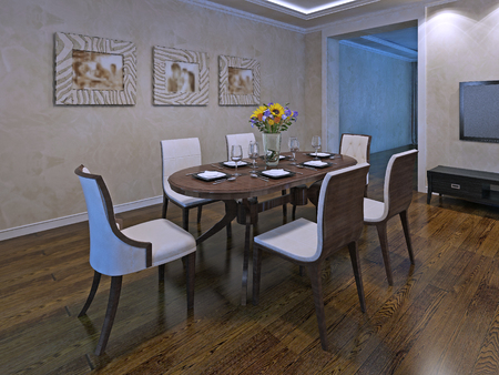 avant: Oval dining table for six person. Interior of dining room in avant garde style. Polished laminate flooring. 3D render Stock Photo