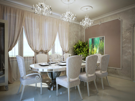 room decor: Dining in art deco trend. Molding on the walls in a modern interior. Served oval dining table for eight person. 3D render