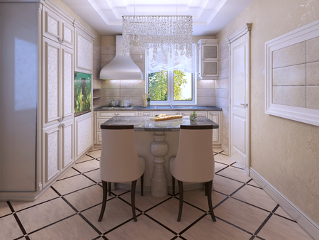 kitchen island: Ecru kitchen with tiled floor and cream soft colors. Crystal decoration. Walls of textured plaster. 3D render