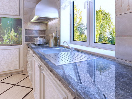 ecru: Modern kitchen design. Ecru colored cabinets. Wall hood. Glossy countertop. 3D render
